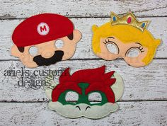 Super Mario Masks - Bowzer Mario Peach Masks Set - Felt Dress Up Mask SET of Three - Birthday Party Favor by ArielsCustomDesigns on Etsy