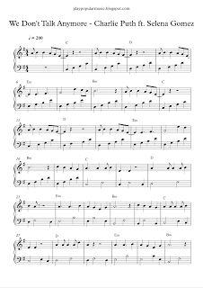 play popular music, We Don't Talk Anymore, CHARLIE PUTH, Selena Gomez, free piano sheet music