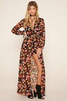 Forever 21 Contemporary - A woven romper featuring and a maxi skirt overlay, floral print, surplice neckline, long self-tie sleeves, and a concealed back zipper.