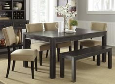 D532250109 Gavelston Rectangular Dining Room Tabular with Four Grey Color Chairs One Large Bench Poplar Veneer and Solids in