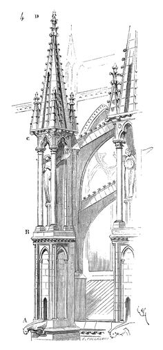 Flying buttress with pinnacle and a statue.