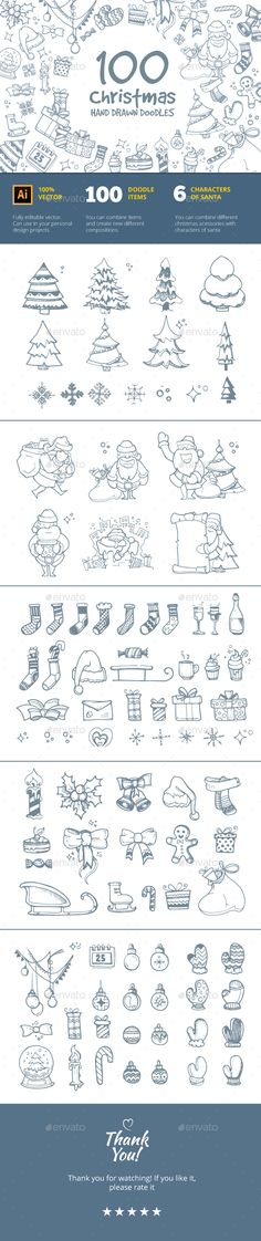 Christmas Hand Drawn Doodles by Alex_cardo Hello!This is Big set of 100 hand drawn vectorize doodles for Christmas. You can use this pictures for your personal design projec Christmas Toys, Christmas Images, Christmas And New Year, Bullet Journal Ideas Templates, Christmas Cards, Christmas Doodles, Merry Christmas, Gift Ribbon, Decoration Inspiration