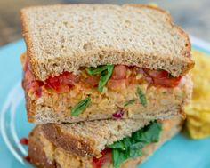 Fact: Vegetarian food can be every bit as protein-packed as its omnovorous kin. Veggie and the Beast bloggers Katie Parker and Kristen Smith's loaded new cookbook is an ode to vegetarian food with rib-sticking heartiness, and this spin on the Buffalo-chicken sandwich is no exception. Ready for lunch?
