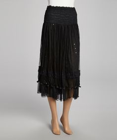 Take a look at this Black Sequin Lace Silk-Blend Skirt - Women on zulily today!