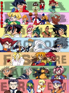 BEYBLADE G-Revolution by Samy-Consu on DeviantArt -- We wanted to revive the image of the Japanese eding theme『Kaze No Fuku Basho』 of BEYBLADE G-Revolution (c) Takao Aoki, because we like them a lot.  We have redesigned all the characters together, but adding the EURO TEAM. 〜 Made with ILLUSTRATOR CS6 and PHOTOSHOP CS6