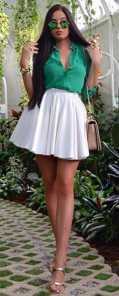 Green Shirt + White Skirt                                                                             Source