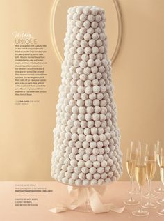 Unique Wedding Cakes - Instead of croquembouche, this cake features cake balls. Guests can pluck them off themselves, or caterers can serve a few on each plate with or without a slice of sheet cake of the same flavors. Croquembouche, White Wedding Cakes, Unique Wedding Cakes, Unique Weddings, Wedding Ideas, Wedding Inspiration, Cake Wedding, Wedding Favors, Wedding Styles