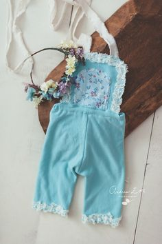 Image of Teal blue / flowers romper set with flower crown( 6-9 months)