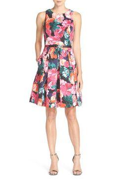 Eliza J Belted Floral Print Faille Fit & Flare Dress (Regular & Petite) available at #Nordstrom