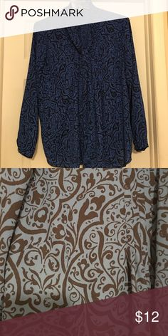 Tie-neck blouse A tie-neck blouse patterned in navy and royal blue. Button front. Worn a handful of times at most. Lands' End Tops Blouses