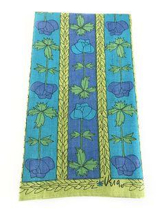 Vintage Vera Towel Roses Flowers Blue Green Floral Design