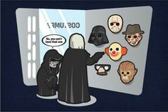 Artist Mike Jacobsen cartoons awesome Star Wars humor We love fans taking Star Wars scenes and making them their own, so of course we love these cartoons of hilarious imagined scenes brought to life. Mascara Darth Vader, Darth Vader Mask, Star Wars Cartoon, Star Wars Meme, Star Wars Karikatur, Happy Friday The 13th, I Found You, Geek Out, Funny Pictures