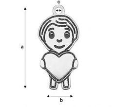 Size: a=21,00 mm; b=12,00 mm; c=1,50 mm, Ag 925 Available on: http://www.silvexcraft.eu/en/22777-laser-boy-2-17266.html