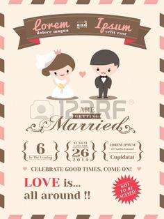 Cute wedding invitation collection vector wedding invitation cards wedding invitation card template with cute groom and bride cartoon stock vector stopboris Gallery