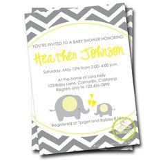 Chevron Yellow & Grey Elephant Baby Invitation (Choice of Colors) - CUSTOM - by Whittle Whimsy. $15.00, via Etsy.