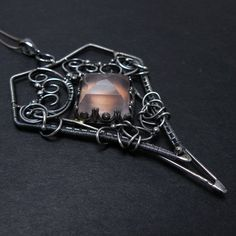 Wire wrap pendant, gemstone wirework jewelry, romantic wedding jewelry, sterling wire wrapped pednant, silver jewelry, fine gemstone pendant. $180.00, via Etsy.