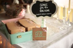Thirty Day Dash | DIY Wedding and Day-of Wedding Services | Wedding day soundtrack favors!  An awesome Austin area couple made these for their guests. Thirty Day Dash setup all these amazing wedding details at Creekside in Dripping Springs. www.thirtydaydash.com
