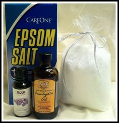 Simple, relaxing detoxifying bath...eases muscle aches & helps you sleep! 1 cup epsom salts, 1 cup baking soda, 10 drops lavender!   Also makes a great gift- Mix salts with essential oils of your choice, put in a baggie and tie with a ribbon!