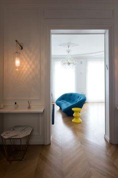 Entrée sur séjour-  Appartement Parisien de 115m2- GCG Architectes