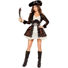 Girl's Pan Pirate Halloween Costume ($120) ❤ liked on Polyvore featuring costumes