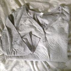 Long sleeve pj top White and light grey comfy pj top Tops Tees - Long Sleeve
