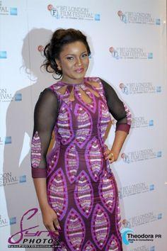 Omotola Jalade beautiful in a purple Vlisco dress