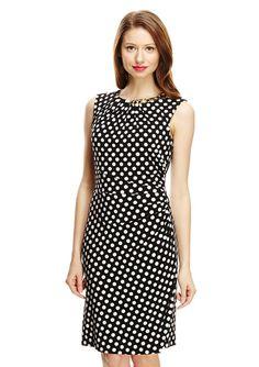 TAHARI ARTHUR S. LEVINE Polka Dot Side Drape Dress $69.99