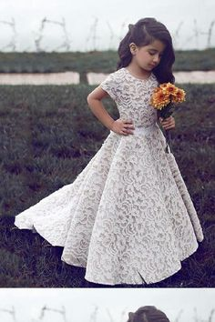 Discount Magnificent Lace Round Neck Short Sleeves Lace Flower Girl Dress  With Sash. Holy Communion DressesGirls ... b01773abb0b4