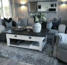 awesome grey living rooms for gorgeous & stylish spaces 19 Living Room Grey, Home Living Room, Apartment Living, Interior Design Living Room, Living Room Designs, Living Room Decor, Sweet Home, King Bedroom Sets, Rustic Home Design
