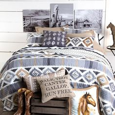 Walk Trot Canter Gallop Quilted Bedding Collection- The Run Free Bedding collection brings a classic feel to a traditional Navajo pattern with soft grays and tans, and a white and gray tan diamond reverse.