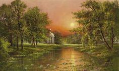 Glassl-Sunset-upon-arbour-Romantik-Fertig-Bild-60x100-Landschaftsbild
