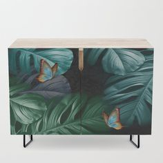 Butterflies in Tropical Paradise Credenza by justkidding #Credenza #graphicdesign #butterflies #green #bluegreen #black