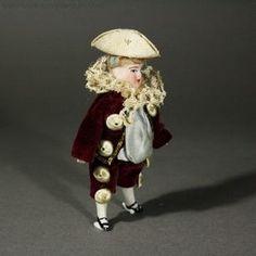 Antique dolls house all-bisque mignonette , Antique Dollhouse miniature marquis doll , Puppenstuben ganzbiskuit puppe mignonette