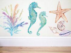 Find inspiration to create a princess mermaid room with the latest interior design trends. Seahorse Nursery, Seahorse Art, Ocean Nursery, Fish Nursery, Nursery Decor, Nursery Ideas, Ocean Bedroom, Mermaid Bedroom, Mermaid Nursery Theme
