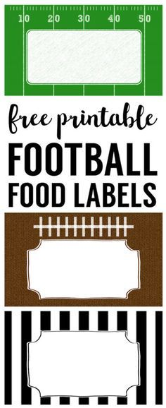 Football food labels free to print. DIY football party decoration for a super bowl party, football team party, football birthday party or baby shower. Football Party Decorations, Football Themes, Football Food, Football Decor, Parties Decorations, Graduation Decorations, Football Team Treats, Gender Reveal Football, Team Mom Football