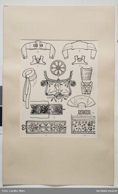 DigitaltMuseum - Festdräkt Österåker och Vingåkers socknar, Södermanland. Teckning av Emelie von Walterstorff. (E.v.Walterstorff).