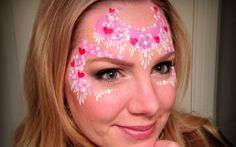 Another beautiful Valentine's heart face paint design by Lisa Joy Young. Girl Face Painting, Face Painting Tips, Face Painting Tutorials, Face Painting Designs, Body Painting, Face Paintings, Paint Designs, Henna Paint, Cheek Art