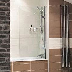 Lumin8 Bath Screens  --- The Lumin8 Bath Screens present a minimalist designer look for an over the bath showering solution.  --- Available from Roman Ltd - British Made Luxury Shower Enclosures and Bath Screens. Images Copyright www.roman-showers.com