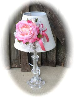 Handmade / Cottage Chic / decorated lamps / table lamps / desk lamps / accent lamps / pink lamps / white / pink / clear base / romantic lamp