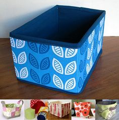 1. Surlepetitchemin's box, made with this tutorial from Sew4Home  2. Pink Penguin's fabric basket  3. In a Nutshell's nesting boxes  4. Jezze's no-interfacing storage basket  5. Urban Nest's cereal box storage bins  6. Kargrrl's square-bottomed canvas bucket