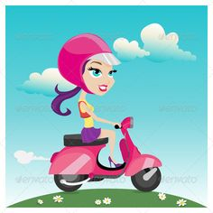 Girl Riding a Scooter  #GraphicRiver         Cute girl riding a pink scooter.   Vector illustration.   Ai, Eps, Psd, High Jpeg and Png Files.   TRANSPORTATION / VEHICLE                     Created: 4September13 GraphicsFilesIncluded: PhotoshopPSD #TransparentPNG #JPGImage #VectorEPS #AIIllustrator Layered: Yes MinimumAdobeCSVersion: CS Tags: beautiful #bike #cute #driving #fashion #fun #girl #illustration #leisure