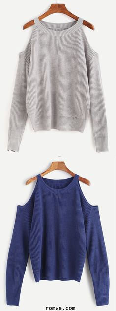 Dark Blue Open Shoulder Knit Sweater