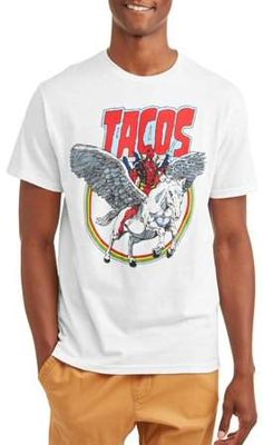 bc951eccc Marvel Deadpool Men's Tacos And Unicorn Short Sleeve Graphic T-Shirt, up to  Size 2XL