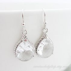 Wedding Jewelry Bridesmaid Gift Bridal Jewelry Bridesmaid Jewelry Clear Crystal Silver Trimmed Pear Teardrop Earrings Framed Dangle Earrings...