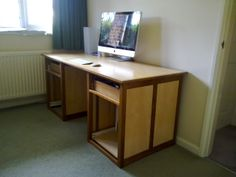 A desk I made in solid walnut and maple veneered MDF, still incomplete as drawers are still needed. But I will get to it once all the other jobs are out of the way...