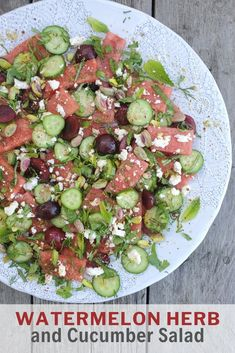 The classic watermelon and feta salad becomes so much more by adding cherries, pistachios and fresh herbs! Easy Salads, Summer Salads, Easy Meals, Watermelon And Feta, Watermelon Recipes, Best Salad Recipes, Salad Dressing Recipes, Feta Salad, Cucumber Salad
