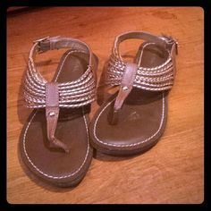 Merona sandels Super cute brown and silver braid design sandals. Buckles around ankle for the perfect fit. Wore a handful of times. No damage or scuffs. Merona Shoes Sandals