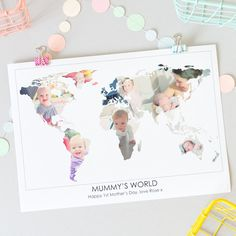 Personalised 'Mummy's World' Photograph Map. Give Mummy a gift she'll treasure with a personalised 'Mummy's world' photograph map, using beautiful images of her children to create her world. www.helloruth.co.uk