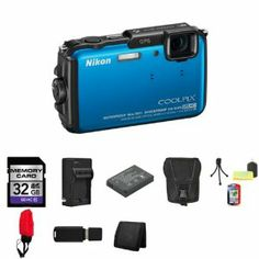 Best Buy Nikon COOLPIX AW110 Digital Camera (Blue) 26411 + 32GB SDHC Class 10 Memory Card