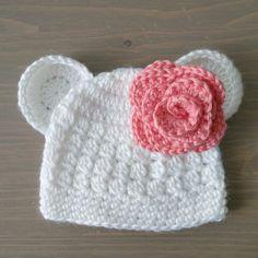 Crochet Polar Bear Hat With Flower, Baby Polar Bear Hat, Baby Bear Hat, Crochet…